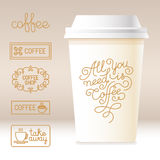 Vector take away coffee cardboard cup with linear design element royalty free illustration