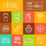 Vector take away food. And coffee to go icons and labels in trendy linear style - fast food and cafe concepts Royalty Free Stock Image