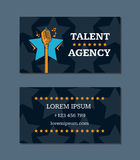 Vector talent agency business card template with retro microphone and stars Stock Photography