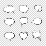 Vector Talk Bubbles Set on Transparent Background, Quote Frames Collection. stock images