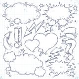Vector talk and think, sketch bubbles, lightning and arrow. Vector sketch set of think bubble, talk bubble, drawing doodle, lightning and arrow Royalty Free Stock Image