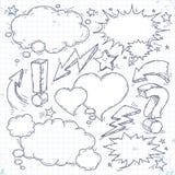 Vector talk and think, sketch bubbles, lightning and arrow. Vector sketch set of think bubble, talk bubble, drawing doodle, lightning and arrow royalty free illustration