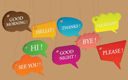 Vector Talking English Bubbles Speech Idea. Colorful bubbles speech with greeting ideas Stock Photo