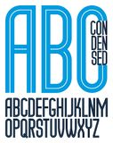 Vector tall condensed capital English alphabet letters collectio. N made with white lines, can be used in poster design as newspaper advertising Stock Photography