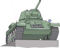Vector Tank T 34 op het voetstuk stock afbeelding