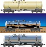 Vector tanker cars. Hi-detail rail oil/gasoline tanker cars. [for branding] Available CDR-9 vector format stock illustration
