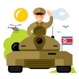 Vector Tankman North Korea. Flat style colorful Cartoon illustration. Royalty Free Stock Images