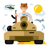 Vector Tankman. Russian military Army. The conflict in the Middle East. Flat style colorful Cartoon illustration. Soldier with a gun in the turret, Aircraft Royalty Free Stock Photo