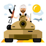 Vector Tankman, War in the Middle East. Flat style colorful Cartoon illustration. Stock Image