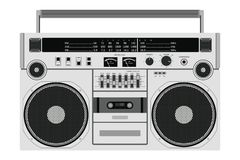 Vector tape recorder. Vector old cassette recorder for pushing music with two speakers isolated on white background stock illustration