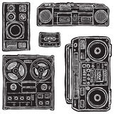 Vector tape recorders. Royalty Free Stock Images