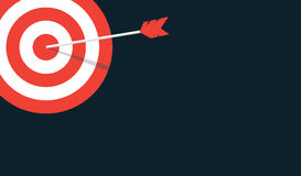 Vector target background. Red stripes target with arrow in a middle. Flat vector background with copy space Royalty Free Stock Photos