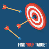 Vector target concept in flat axonometric style Stock Image
