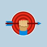 Vector target and hand holding arrow in flat style Royalty Free Stock Images