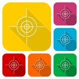 Vector target icons set with long shadow Royalty Free Stock Photo