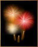 Vector. Tarjeta del día de fiesta con el fuego artificial Imágenes de archivo libres de regalías