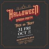 Vector, tarjeta fantasmagórica de la invitación del partido de Halloween con el ornam del vintage Imágenes de archivo libres de regalías