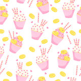 Vector tasty background with hand drawn maffins. Royalty Free Stock Photos