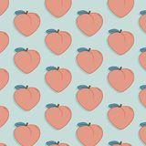 Vector tasty fruit pattern with peach. Exotic fashion food drawing illustration. Sweet nature juicy organic modern print. Vector tasty fruit pattern with peach stock illustration