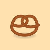 Vector tasty pretzel on the light background Royalty Free Stock Photo