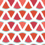 Vector tasty watermelon slices seamless pattern Stock Photography