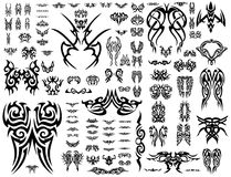 Vector Tatoo collection 101 symbols. Huge collection of 101 tribal abstract tattoo shapes isolated on white background Royalty Free Stock Image