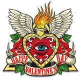 Vector tattoo art on the theme of Valentines Day Stock Image