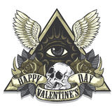 Vector tattoo art on the theme of Valentines Day Stock Images
