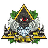 Vector tattoo art on the theme of Valentines Day Stock Photo
