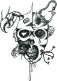Vector tattoo daemon face. With tentacles and sign of the beast Stock Image