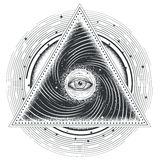 Vector tattoo illustration abstract sacred geometry with an all-seeing eye. Mystic eye inside the triangle against the background of the universe Royalty Free Stock Image
