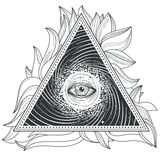 Vector tattoo illustration abstract sacred geometry with an all-seeing eye. Mystic eye inside the triangle against the background of the universe Stock Photos