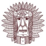 Vector tattoo with indian face - illustration Stock Photo