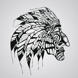Vector Tattoo, Native American Indian chief Stock Photo
