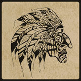Vector Tattoo, Native American Indian chief Royalty Free Stock Images