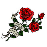 Vector tattoo red roses. Tattoo with red roses and vintage ribbon with lettering Royalty Free Stock Photography
