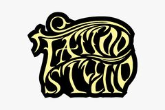Cool retro styled vector emblem. Tattoo studio sign royalty free illustration