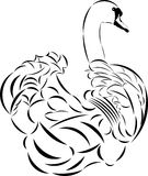Vector tattoo style swan. Stock Photography