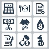 Vector tax icons set Royalty Free Stock Photo