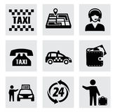 Vector taxi icons set Royalty Free Stock Images