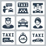 Vector taxi icons set Stock Photos