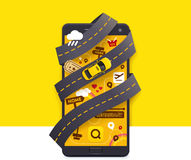 Vector taxi mobile app icon Stock Image
