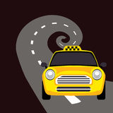 Vector of a taxi on the road Royalty Free Stock Photo
