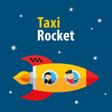 Vector taxi rocket illustration Stock Photo