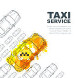 Vector taxi service banner, flyer, poster design template. Call taxi concept. Taxi yellow watercolor painted cab. Royalty Free Stock Image