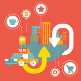 Vector taxi service in big city  with icons Royalty Free Stock Image