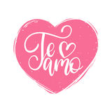 Vector Te Amo calligraphy, spanish translation of I Love You phrase. Hand lettering in heart shape Stock Image