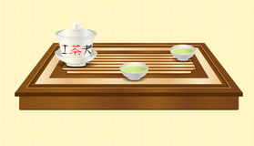 Vector tea ceremony. Tea ceremony. Carved wooden tea tray, gaiwan and two chinese traditional porcelain cups with green tea. Tea ceremony. Yellow ethnic Stock Images