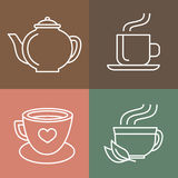Vector tea and coffee logos Royalty Free Stock Photo