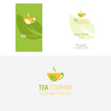 Vector tea company logo - cups and green leaves and corporate business card Royalty Free Stock Images
